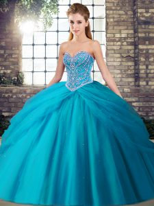 Aqua Blue Tulle Lace Up Sweetheart Sleeveless Sweet 16 Quinceanera Dress Brush Train Beading and Pick Ups