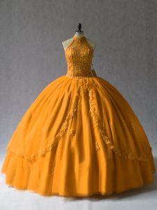Ball Gowns Sweet 16 Dress Orange Halter Top Tulle Lace Up