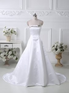 White A-line Satin Strapless Sleeveless Ruching Lace Up Evening Dress Court Train