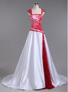 White And Red Cap Sleeves Lace and Appliques Lace Up Prom Dresses