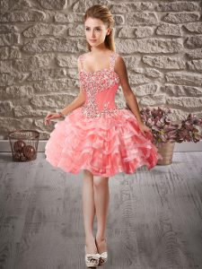 Captivating Watermelon Red Organza Lace Up Runway Inspired Dress Sleeveless Mini Length Beading and Ruffled Layers