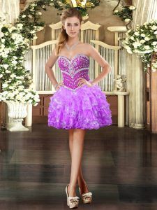 Gorgeous Lilac Ball Gowns Organza Sweetheart Sleeveless Beading and Ruffled Layers Mini Length Lace Up