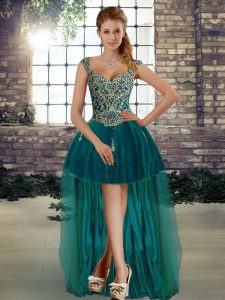 Fashion A-line Prom Dresses Dark Green Straps Tulle Sleeveless High Low Lace Up