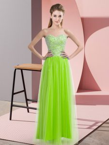 Yellow Green Sleeveless Beading Floor Length Homecoming Gowns
