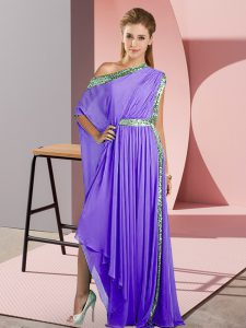 Fashionable Asymmetrical Lavender Evening Dress One Shoulder Sleeveless Side Zipper