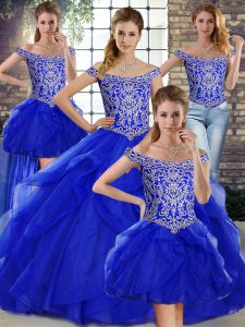 Hot Selling Royal Blue Ball Gowns Tulle Off The Shoulder Sleeveless Beading and Ruffles Lace Up Sweet 16 Dresses Brush Train