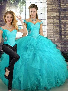 Aqua Blue Two Pieces Off The Shoulder Sleeveless Tulle Floor Length Lace Up Beading and Ruffles Sweet 16 Dresses