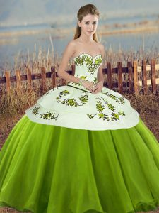 Super Ball Gowns Ball Gown Prom Dress Olive Green Sweetheart Tulle Sleeveless Floor Length Lace Up