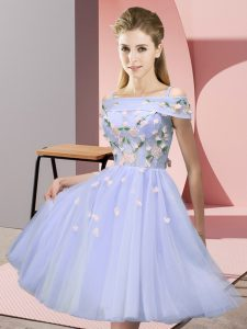 Charming Knee Length Lace Up Quinceanera Court of Honor Dress Lavender for Wedding Party with Appliques