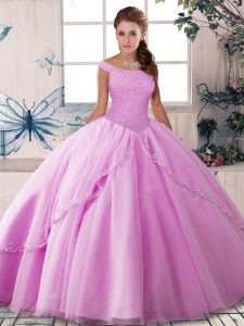 Free and Easy Lilac Sleeveless Tulle Brush Train Lace Up Quinceanera Dresses for Military Ball and Sweet 16 and Quinceanera