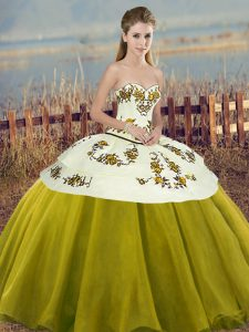 New Style Floor Length Olive Green Quinceanera Dress Tulle Sleeveless Embroidery and Bowknot