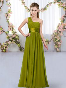 Decent Olive Green Empire Chiffon One Shoulder Sleeveless Belt Floor Length Lace Up Bridesmaids Dress