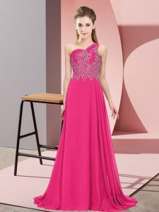 Chiffon One Shoulder Sleeveless Side Zipper Beading Evening Dress in Hot Pink