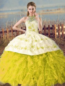 Yellow Green and Yellow Sleeveless Organza Court Train Lace Up Quinceanera Gowns for Sweet 16 and Quinceanera