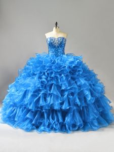 Discount Floor Length Blue 15th Birthday Dress Organza Sleeveless Beading and Ruffles and Sequins