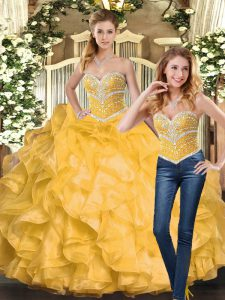 Perfect Gold Ball Gowns Organza Sweetheart Sleeveless Beading and Ruffles Floor Length Lace Up Quinceanera Dress