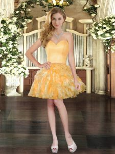 High End Sweetheart Sleeveless Prom Gown Mini Length Ruffles Gold Organza