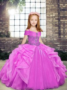 Lilac Lace Up Straps Beading and Ruffles Kids Formal Wear Organza Sleeveless
