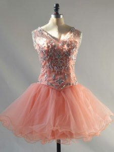 Mini Length Peach Cocktail Dresses Tulle Sleeveless Beading