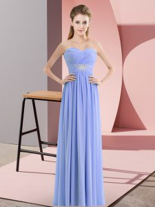 Enchanting Lavender Zipper Sweetheart Beading Evening Dress Chiffon Sleeveless