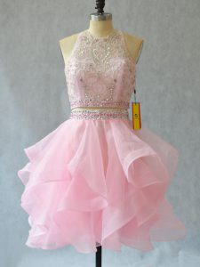 Mini Length Baby Pink Prom Dress Tulle Sleeveless Beading and Ruffles