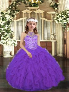Tulle Sleeveless Floor Length High School Pageant Dress and Beading and Ruffles