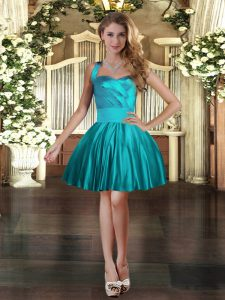 Sleeveless Mini Length Ruching Lace Up Prom Evening Gown with Teal
