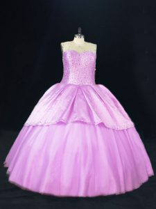 Fancy Lilac Sleeveless Floor Length Beading Lace Up 15th Birthday Dress