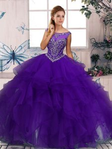 Custom Design Purple Zipper Scoop Beading and Ruffles Quinceanera Dresses Organza Sleeveless
