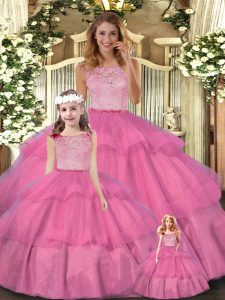 Sleeveless Tulle Floor Length Zipper Sweet 16 Quinceanera Dress in Hot Pink with Lace and Ruffled Layers