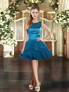 Scoop Sleeveless Lace Up Blue Tulle