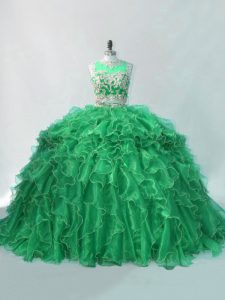 Green Sleeveless Organza Brush Train Quinceanera Gown for Sweet 16 and Quinceanera