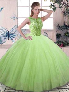 Popular Lace Up Scoop Beading Quinceanera Dress Tulle Sleeveless