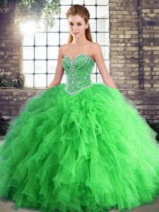 Green Ball Gowns Beading and Ruffles 15 Quinceanera Dress Lace Up Tulle Sleeveless Floor Length