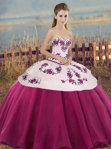 Sleeveless Floor Length Embroidery and Bowknot Lace Up Sweet 16 Dress with Fuchsia