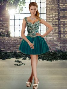 Adorable Sleeveless Tulle Mini Length Lace Up Prom Evening Gown in Dark Green with Beading