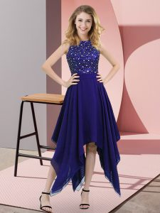 Cute Sleeveless Chiffon Asymmetrical Zipper Prom Dresses in Purple with Beading and Sequins