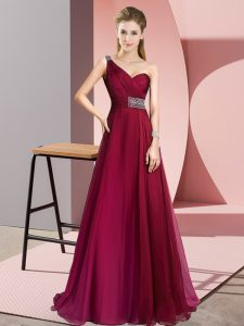 Low Price Burgundy Chiffon Criss Cross One Shoulder Sleeveless Evening Party Dresses Brush Train Beading