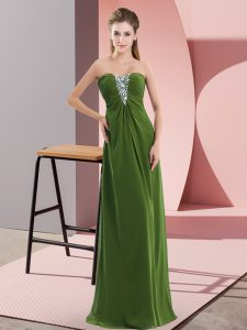 Noble Olive Green Sleeveless Floor Length Beading Zipper Evening Dress