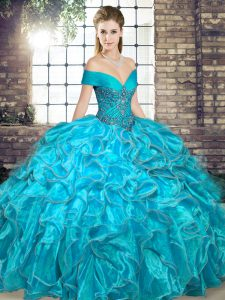 Aqua Blue Organza Lace Up Off The Shoulder Sleeveless Floor Length 15th Birthday Dress Beading and Ruffles