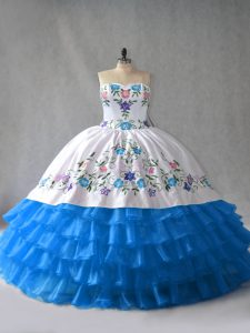 Suitable Blue And White Lace Up Ball Gown Prom Dress Embroidery and Ruffled Layers Sleeveless Floor Length