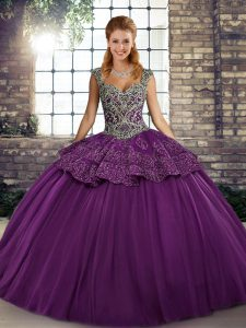 Fabulous Purple Ball Gowns Tulle Straps Sleeveless Beading and Appliques Floor Length Lace Up Sweet 16 Dresses