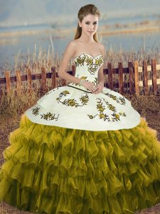 Organza Sweetheart Sleeveless Lace Up Embroidery and Ruffled Layers and Bowknot Sweet 16 Dress in Olive Green