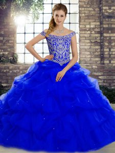 Trendy Royal Blue Tulle Lace Up Off The Shoulder Sleeveless Quinceanera Dresses Brush Train Beading and Pick Ups