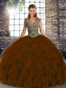 Brown Lace Up Quinceanera Gown Beading and Ruffles Sleeveless Floor Length