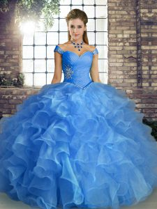 Blue Ball Gowns Off The Shoulder Sleeveless Organza Floor Length Lace Up Beading and Ruffles Quince Ball Gowns