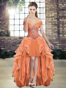 Fantastic Orange Sleeveless Tulle Lace Up Prom Dresses for Prom and Party