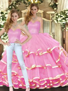 Ideal Rose Pink Ball Gown Prom Dress Military Ball and Sweet 16 and Quinceanera with Ruffled Layers Sweetheart Sleeveless Lace Up