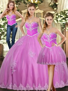 Lilac Ball Gowns Beading and Appliques 15th Birthday Dress Lace Up Tulle Sleeveless Floor Length