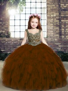 Brown Ball Gowns Straps Sleeveless Tulle Floor Length Lace Up Beading and Ruffles Winning Pageant Gowns